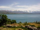 Lake Van surrounded by snow-capped mountains